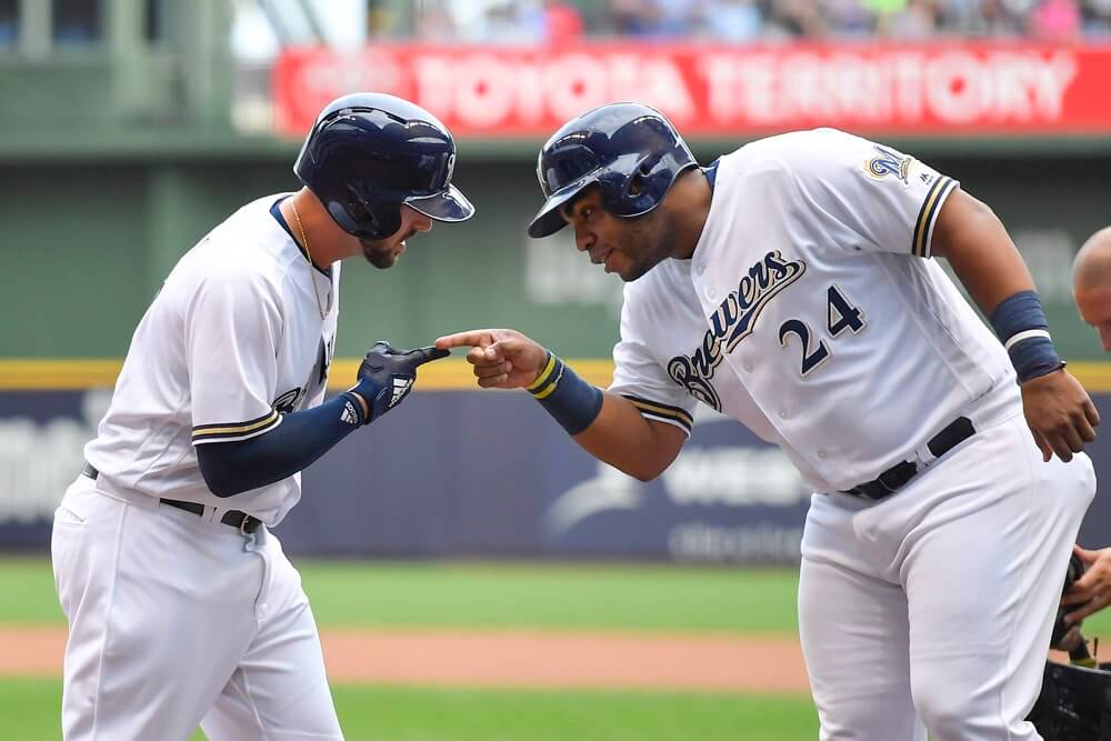 Jesus Aguilar and Travis Shaw